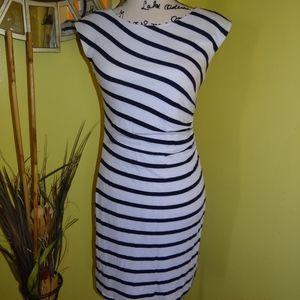 Ann Taylor Loft Navy White Striped Dress